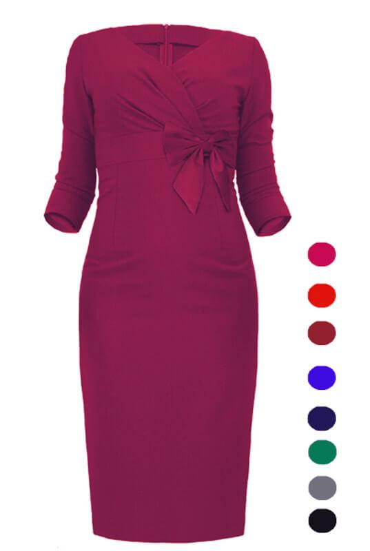 7d06325eae Kopertowa ołówkowa sukienka z kokardą LaKey 167
