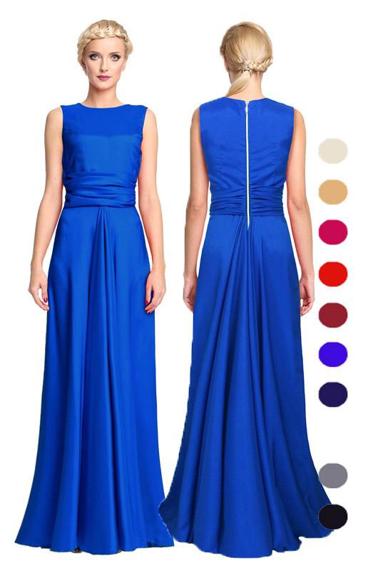 767e6f8981 Długa satynowa suknia z ozdobnym suwakiem - LaKey 193a