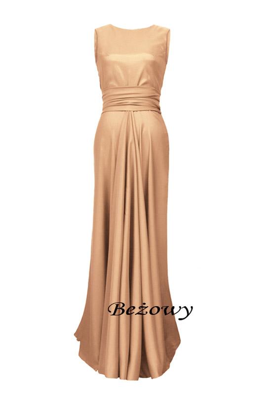 1b46c4e4d6 Długa satynowa suknia z dekoltem woda dla druhny na wesele - LaKey 193