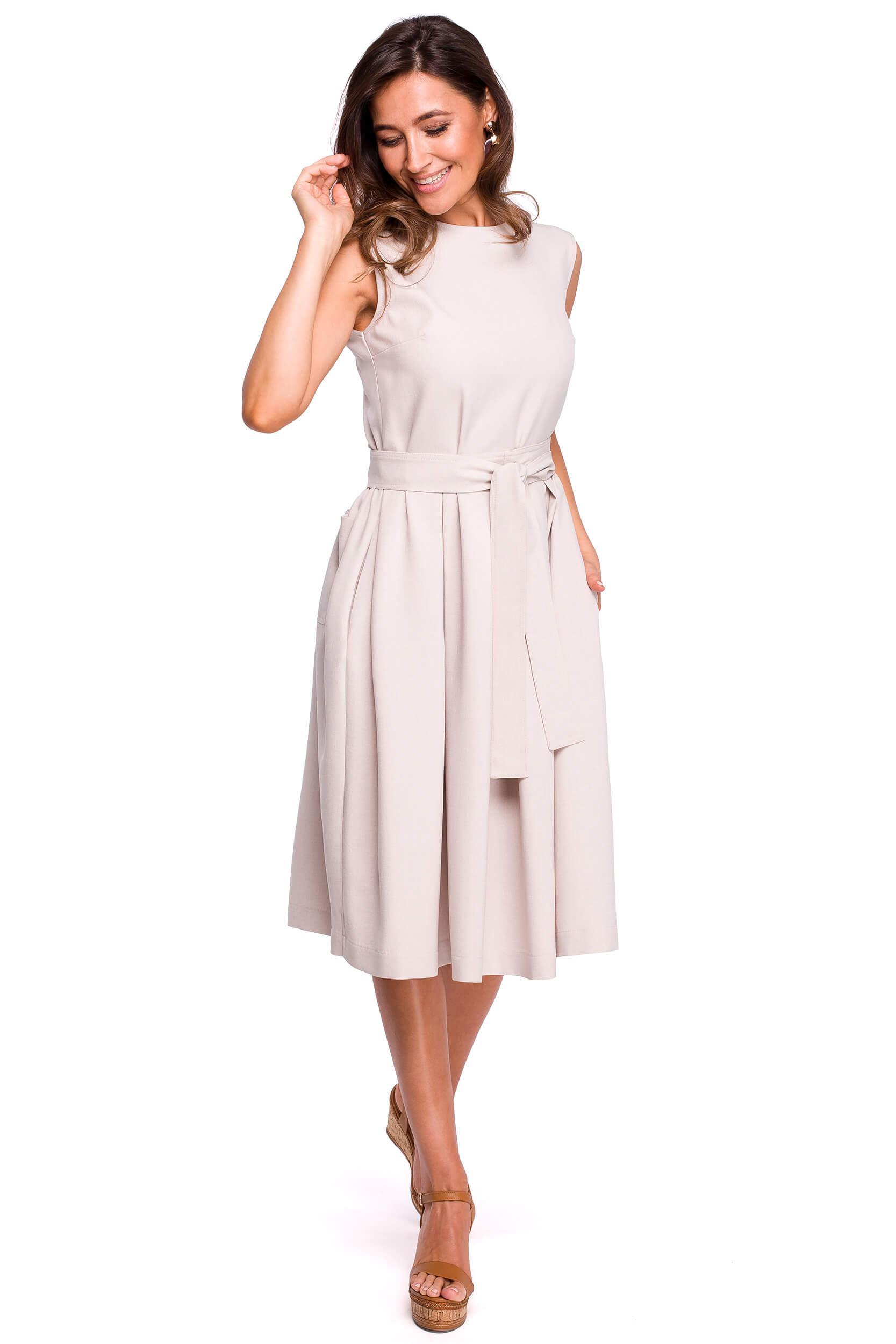 Beżowa sukienka na lato midi w kontrafałdy S161. Sukienki