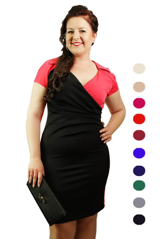 55e817f6ce Kopertowa sukienka plus size z rękawkiem - LaKey 202