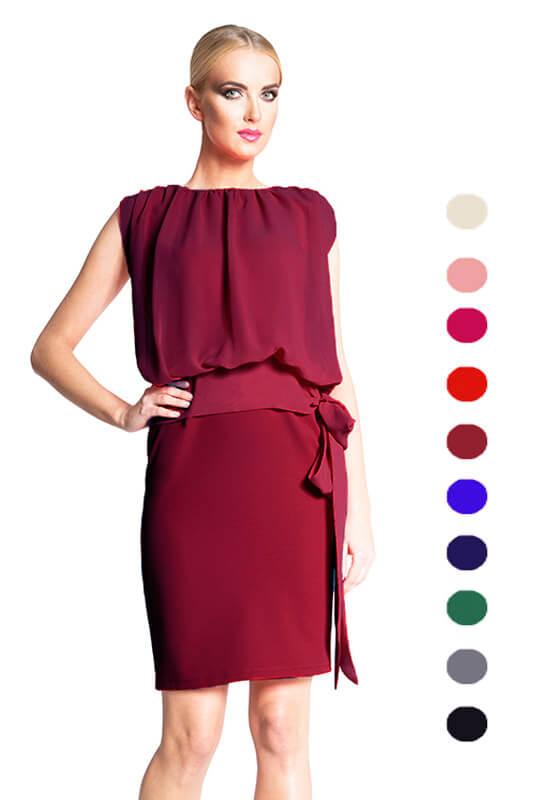 8cb5f6f2f57d98 Prosta wyszczuplająca brzuch sukienka z szyfonową bluzką LaKey 235
