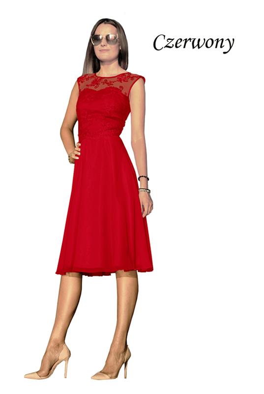 c2f4f02d33 Czerwona koronkowa sukienka z szyfonową spódnicą z koła midi - LaKey 309  dostawa w 24h