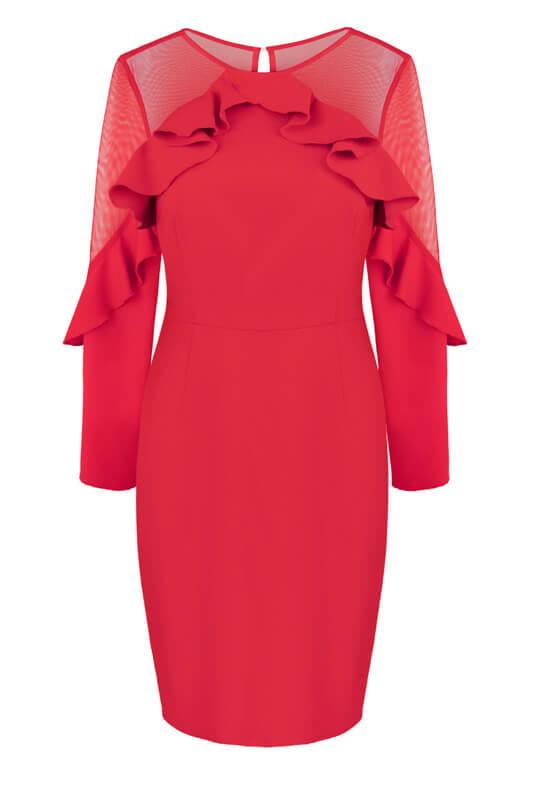 49d822f4d97d3f Czerwona dopasowana wąska sukienka z rękawami - LaKey Camilla dostawa w 24h.  Wysyłka 24h