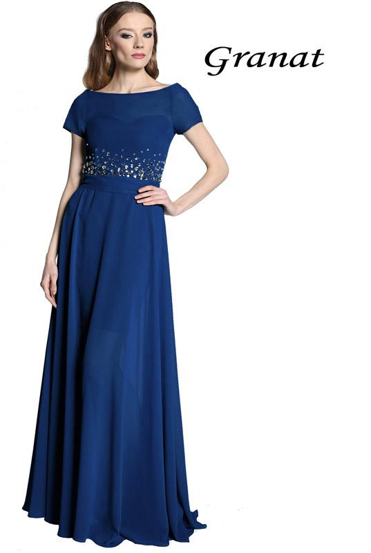 8ec82a29235040 Granatowa sukienka gorsetowa z rękawkiem i odpinaną długą szyfonową  spódnicą LaKey E04 dostawa w 24h. Wysyłka 24h