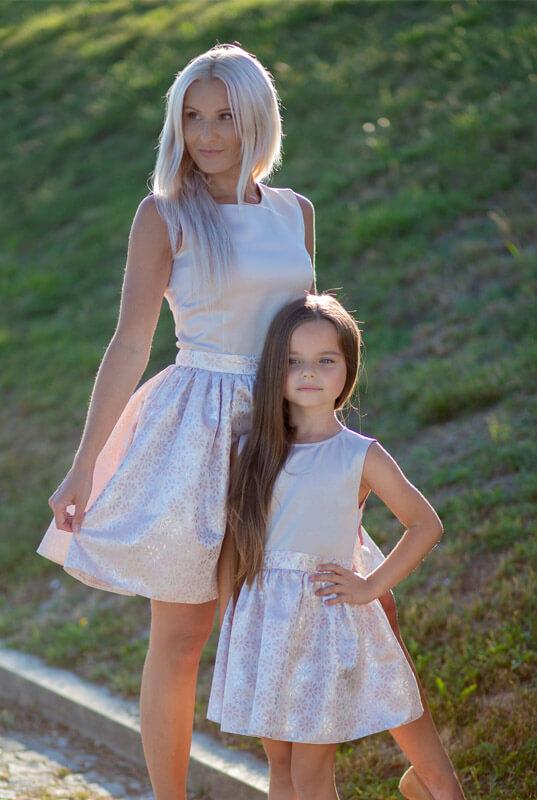 085084fa8c LaKey Flower beżowy zestaw sukienek mama i córka