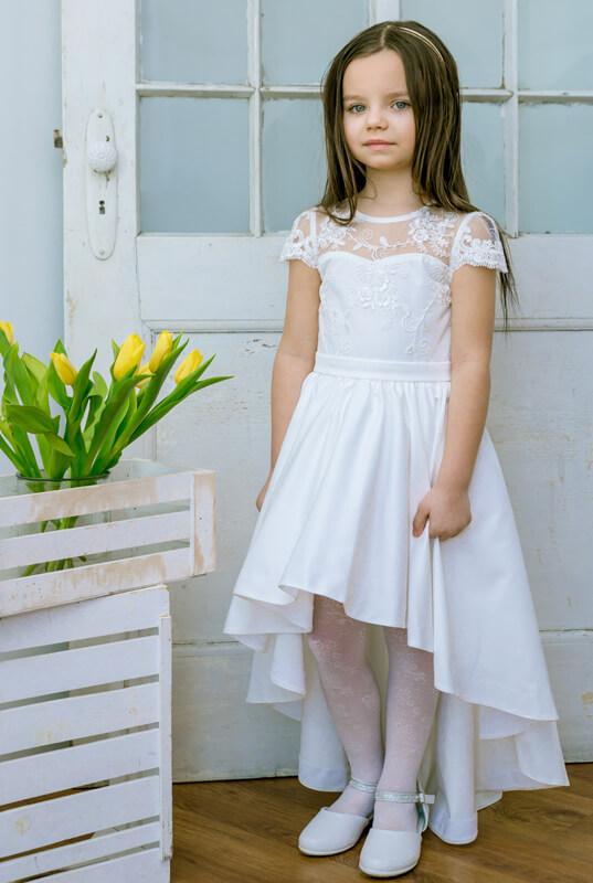 b7d693d139 LaKey Alessandra Asymetryczna sukienka koronkowa komunijna i pokomunijna