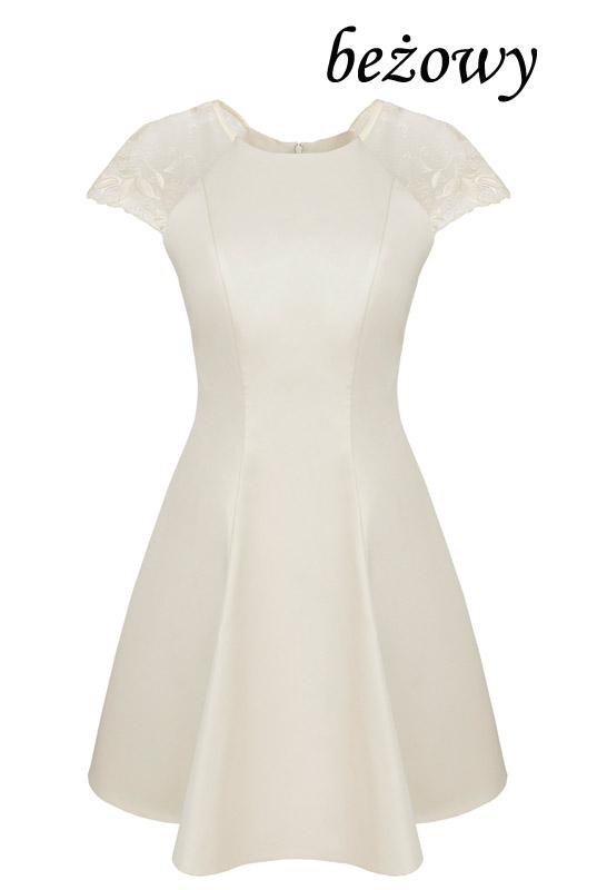 b1d6c62e5c570c Beżowa rozkloszowana sukienka z koronkowym rękawkiem - LaKey Bella dostawa  w 24h. Wysyłka 24h