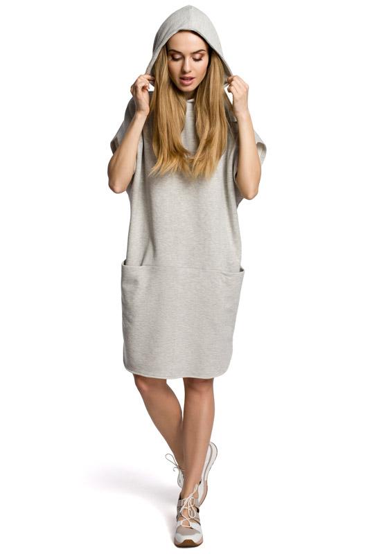 3e797b18b2 LaKey Sport 358 Luźna sukienka dresowa z kapturem popielata