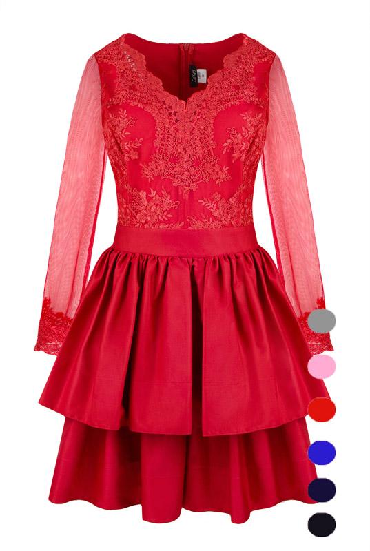 af6b89b755 LaKey Lisa sukienka koronkowa z dekoltem i falbanami