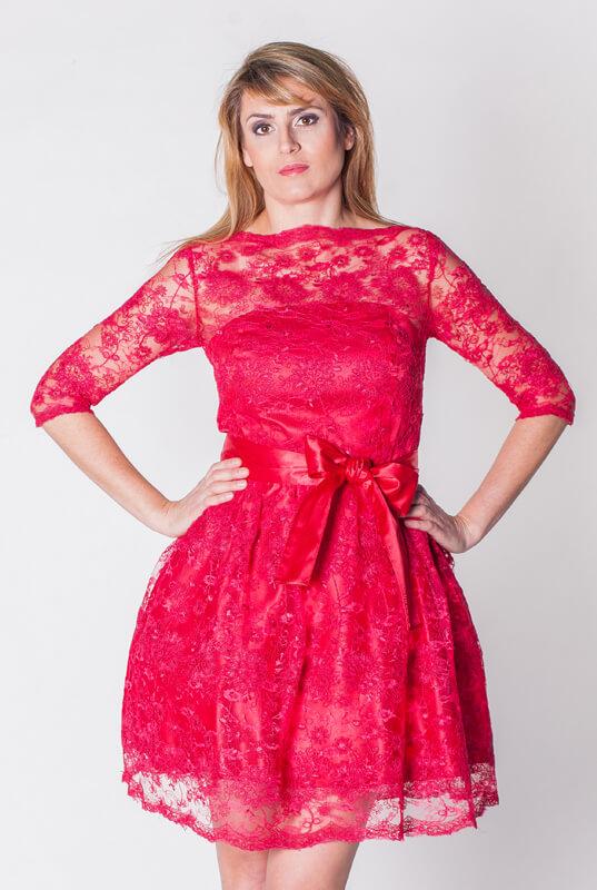 b6743dd13d3cd7 Czerwona sukienka koronkowa z rękawem - LaKey Rosa dostawa w 24h. Wysyłka  24h
