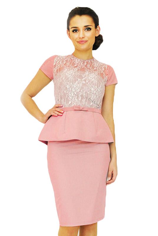 f757255cbb124f Pudrowa sukienka z koronkową bluzką i baskinką - LaKey 162 dostawa w 24h.  Sukienki od ręki - Sklep online z cudownymi sukienkami Gorzów Wielkopolski