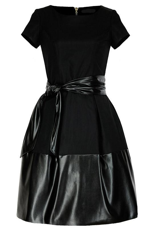 21758ecf19 LaKey 183 czarna rozkloszowana sukienka z suwakiem. Sukienki - Sklep ...