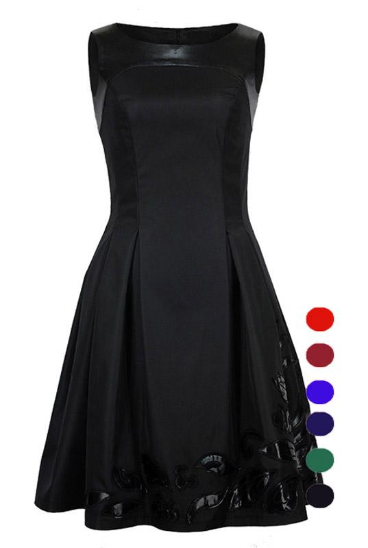 a17935dbbff0b9 LaKey 187 Rozkloszowana wyszczuplająca sukienka z aplikacjami. Sukienki -  Sklep online z cudownymi sukienkami Gorzów Wielkopolski