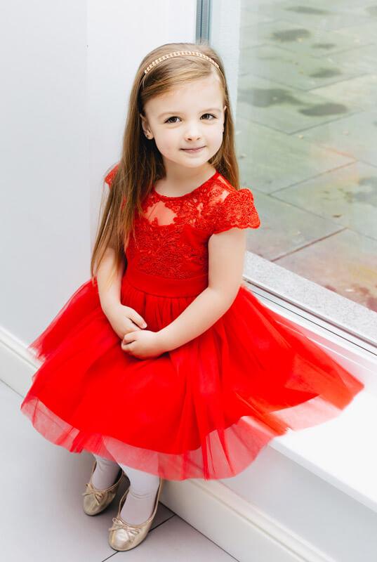 Czerwona koronkowa sukienka z tiulową spódniczką dziecięca LaKey Hoppe dostawa w 24h