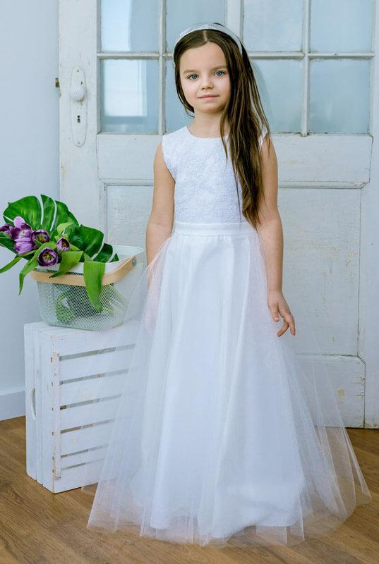 252c790cb4 LaKey Natasza długa tiulowa sukienka komunijna i pokomunijna . Dla ...