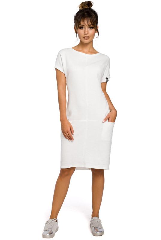 6dac031797 LaKey Sport 50 Luźna sukienka dresowa midi z kieszeniami ecru ...