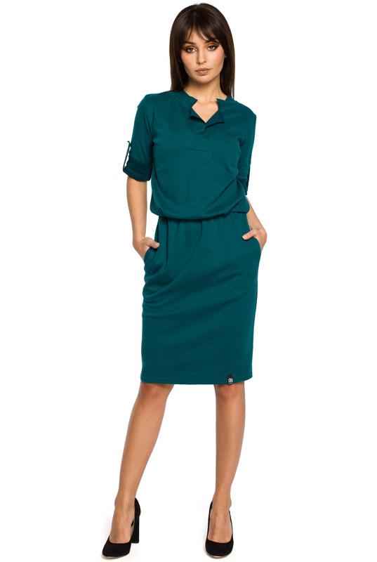 23284b304f LaKey Sport 56 Prosta sukienka dresowa midi do pracy zielona ...