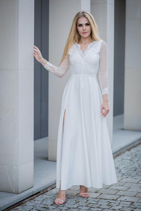Suknia ślubna Z Długim Rękawem Lakey Majra Pracownia Krawiecka