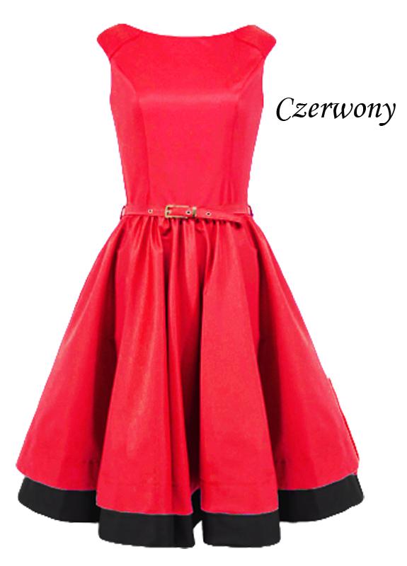 3e680240ab Rozkloszowana czerwona sukienka w stylu retro LaKey 160b dostawa w ...