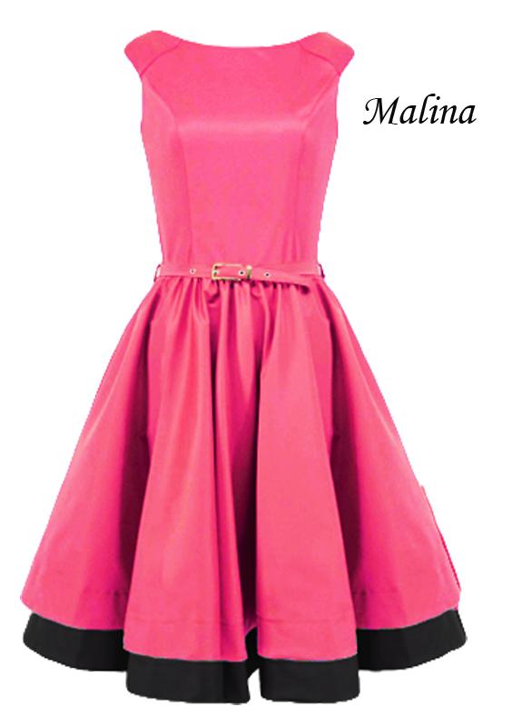 9254597210 Rozkloszowana malinowa sukienka w stylu retro LaKey 160b dostawa w ...