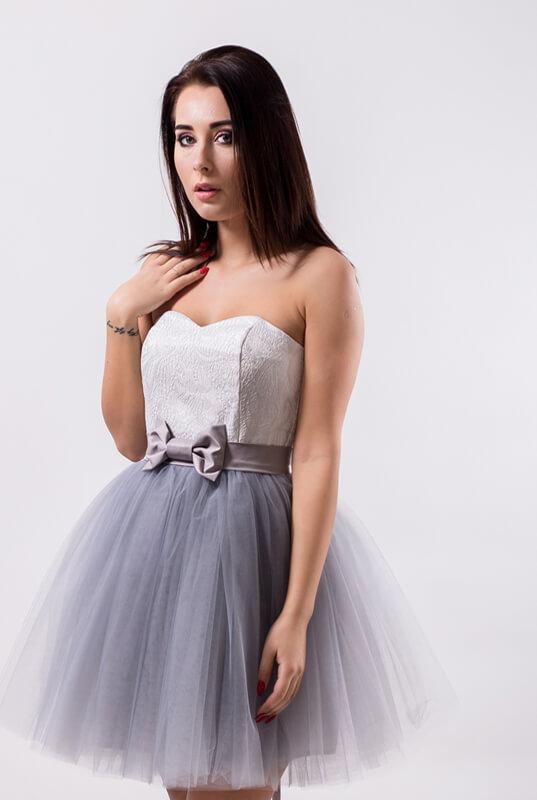 cb3bf807c2 LaKey Sweet sukienka tiulowa gorsetowa biało - szara. Sukienki ...